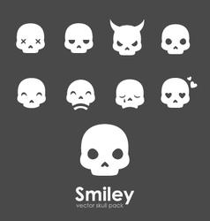 smiley skull emoji vector image vector image