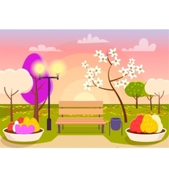 Spring scenery urban park with bench flower beds vector