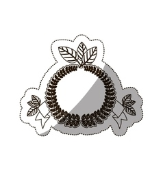 Sticker medium shade of crown leaves with label vector