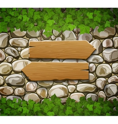 Stone wall with two arrows and leaves vector
