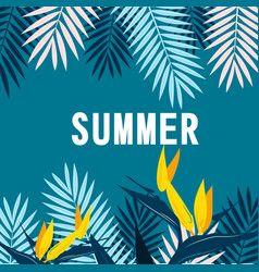 Summer jungle blue background image vector