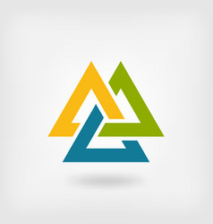 tricolor valknut symbol interlocked triangles vector image vector image
