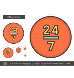 Twenty four hours line icon vector