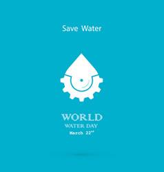 Water drop with cog icon logo design vector