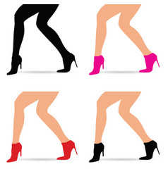 Woman legs in fashion shoes set vector
