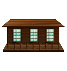 Wooden cabin with three windows vector