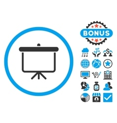 Projection board flat icon with bonus vector