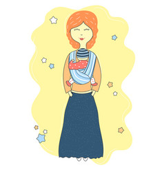 mother holds baby in a sling scarf cute cartoon vector image