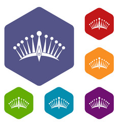 Big crown icons set hexagon vector