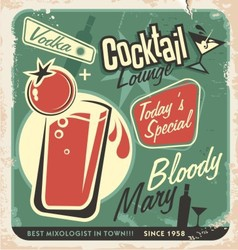 Retro cocktail lounge poster design bloody mary vector