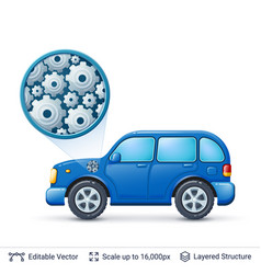 Car and gears vector