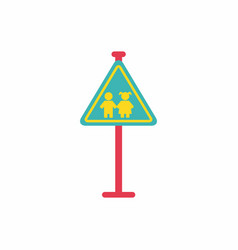 School warning road sign kids road symbol vector
