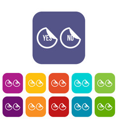 Yes and no buttons icons set vector