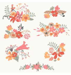 Set of seven cute floral bouquets vector