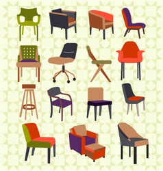 Set icons of chairs - vector