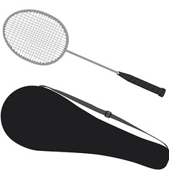 Badminton racket and cover vector