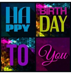 Birthday card with text on triangular vector
