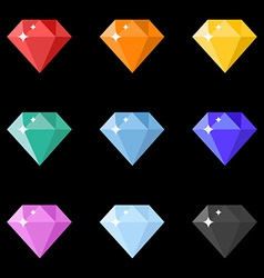 Diamonds icons set in different colors on the vector