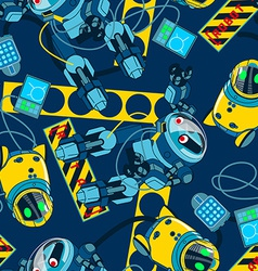 Robot area with navy background seamless pattern vector