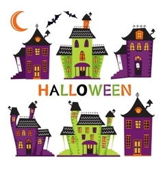 Halloween haunted houses collection vector