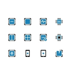 Processor unit duotone icons on white background vector
