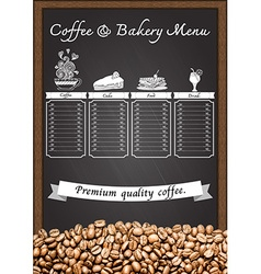 Coffee menu with coffee beans with chalkboard vector