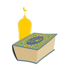 Quran sacred book of muslims big thick book and vector