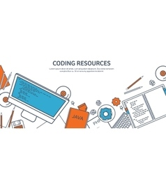 Lined programmingcoding outline flat computing vector