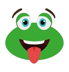 Green avatar frog with open mouth graphic vector
