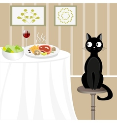 Black cat looking for food vector