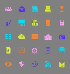 Business management color icons on gray background vector