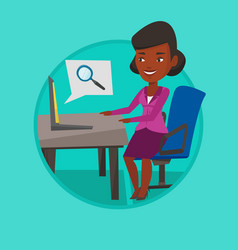 business woman working on her laptop vector image vector image