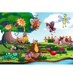 Butterflies and bugs in the garden vector image vector image