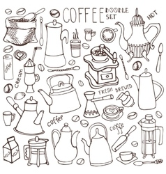 Coffee related doodle setlinear tablewarebeans vector