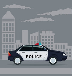 color poster city landscape with police car vector image