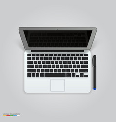 computer with a pen vector image vector image