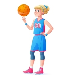 Cute little basketball player girl spinning vector