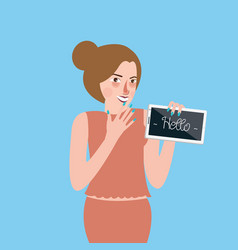 Girl standing holding tablet screen says hello vector