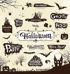 Happy Halloween day silhouette collections vector image vector image