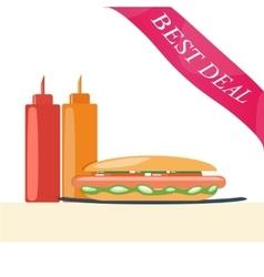 Hot dog with ketchup and mustard vector