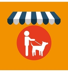 Pet shop with person walk dog vector