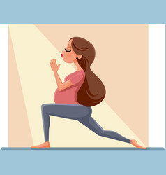 Pregnant woman in prenatal yoga pose cartoon illus vector