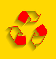 recycle logo concept red icon with soft vector image vector image