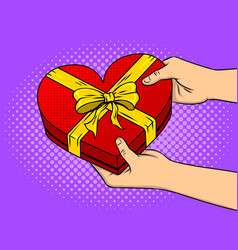 red heart shaped gift box pop art vector image vector image