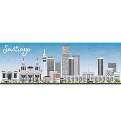 Santiago chile skyline with gray buildings vector