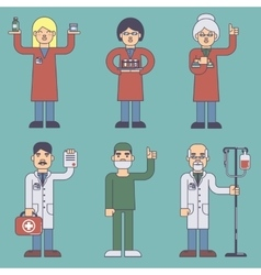 Set of flat style medical staff vector image