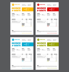 Set of four invoice templates vector