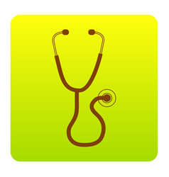 Stethoscope sign brown icon vector