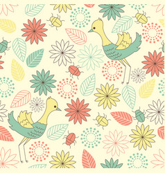Summerly pattern with birds vector