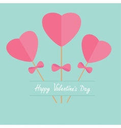 Three sticks with hearts and bows word love Flat vector image vector image